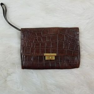 Fossil Brown Cow Hide Leather Clutch Wristlet